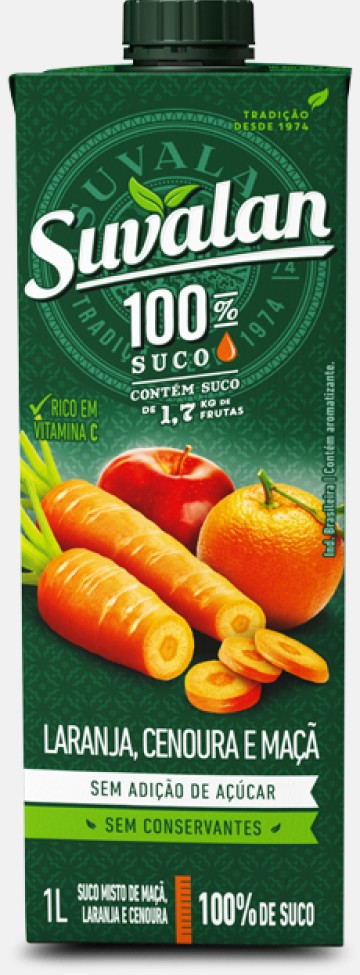 100% Suco-Laranja, Cenoura e Maçã